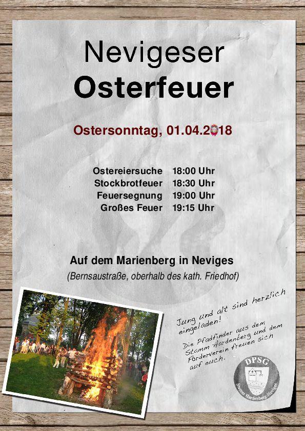 Ostersonntag, 01.04.2018 ab 18:00 auf dem Marienberg in Neviges